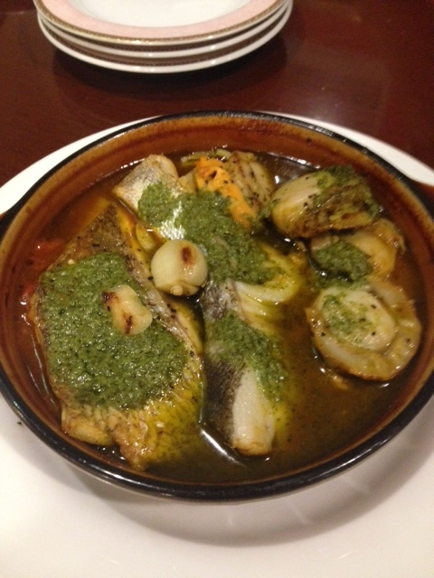 真鱈とホタテのホイル包み焼きジェノバ風