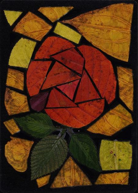工作●落ち葉のステンドグラス