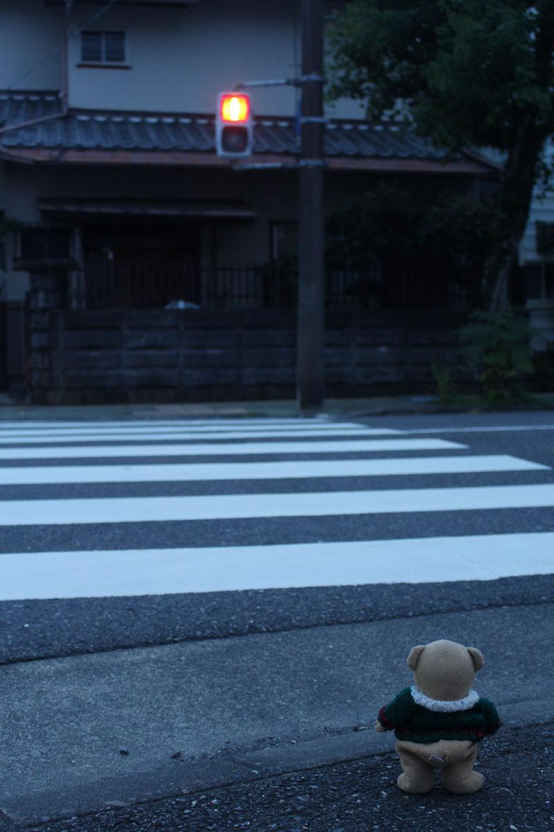 横断歩道で