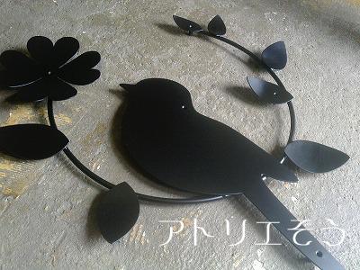 小鳥+葉+クローバー妻飾り