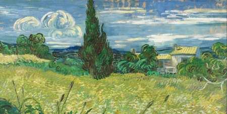 糸杉のある緑の麦畑