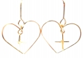 E631 Heart with cross in the middle gold filled earrings (2)