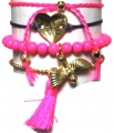 A312 Deluxe Birdy Gold Set of 4 bracelet pink (10)