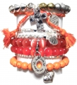 101 orange red silver bracelet set (3)