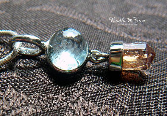 インクルージョンアクアマリン&インペリアルトパーズ・silver 925ペンダント