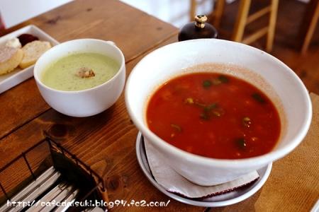 Soup cafe あかり◇ミネストローネ&えんどう豆のグリーンポタージュ