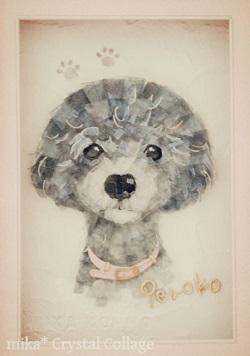 ガラスの貼り絵 ペットの肖像画