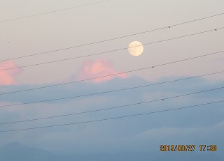 夕焼け雲の上に月が