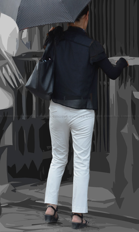 vol242-Pラインと透けPのぴちぴちタイトなホワイトパンツ