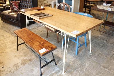春日井市 家具 雑貨 オーダー テーブル Dan 2015年 アイアン脚 ベンチ