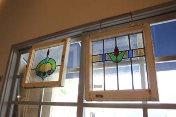 アンティーク ステンド 窓 建具 英国 ディスプレイ 色ガラス 明かりとり