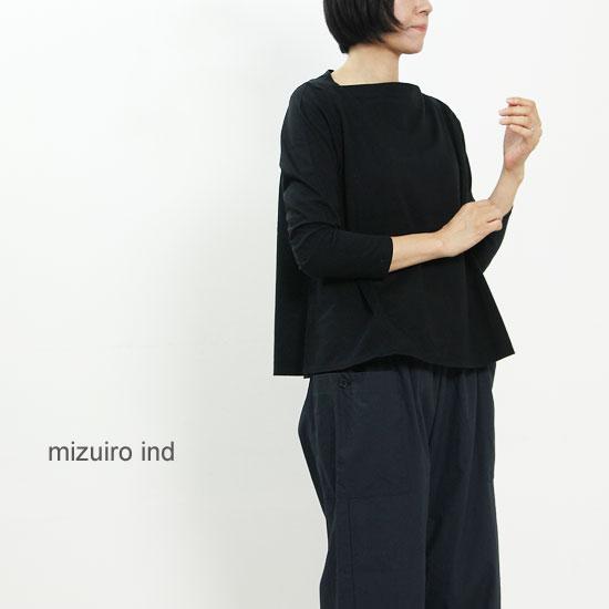 mizuiro ind (ミズイロインド) ボートネックフレアプルオーバー