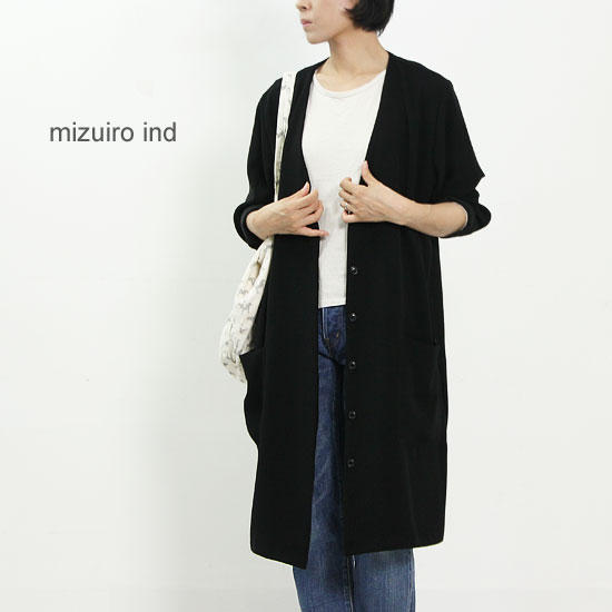 mizuiro ind (ミズイロインド) Vネックフロントフライワンピース