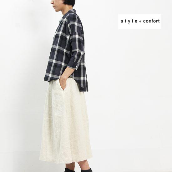 style + confort(スティールエコンフォール) フレンチリネンイージハカマパンツ