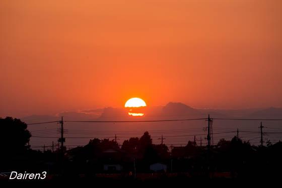 妙義山への落日