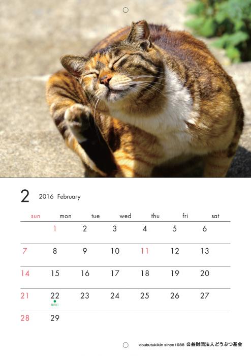 カレンダー2016ねこ2月