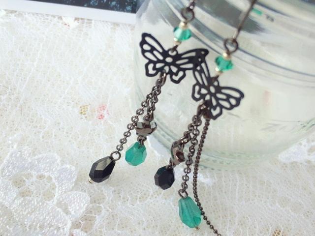 黒蝶と雫の流れ星フックピアス新色4
