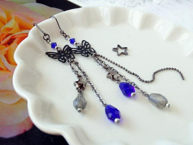 黒蝶と雫の流れ星フックピアス新色コバルト2
