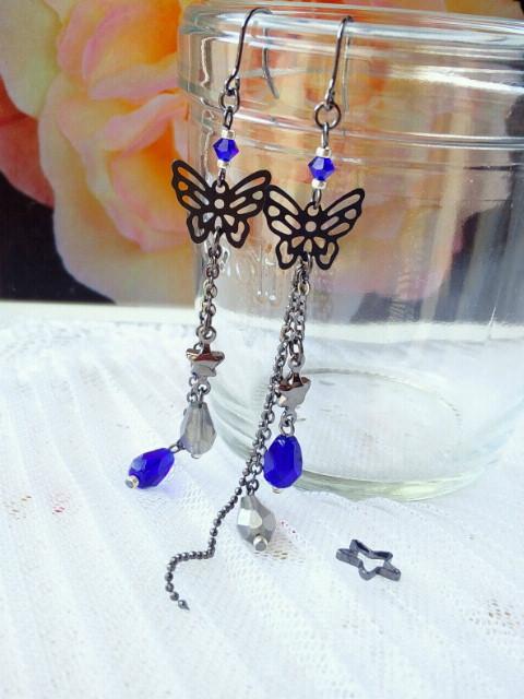 黒蝶と雫の流れ星フックピアス新色コバルト3