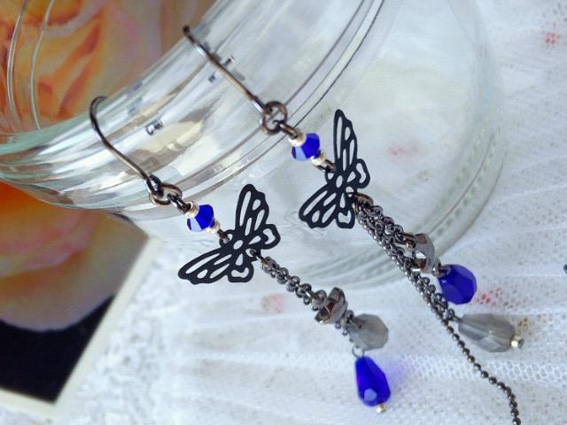 黒蝶と雫の流れ星フックピアス新色コバルト4