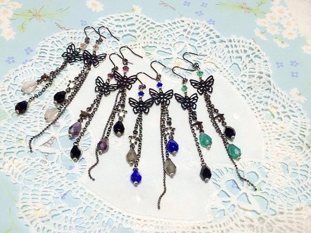 黒蝶と雫の流れ星フックピアス全色補充