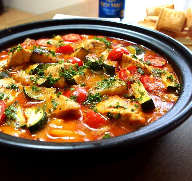 夏野菜と鶏のトマトクリーム煮