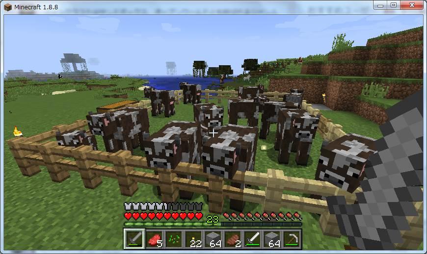 マインクラフト 家畜として飼育してる牛達