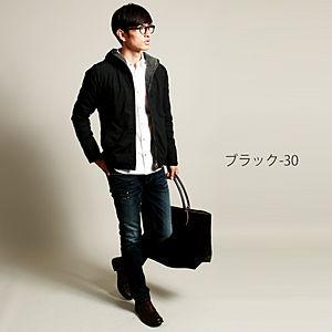 2015 メンズ 中綿ナイロンデニムフードジャケット