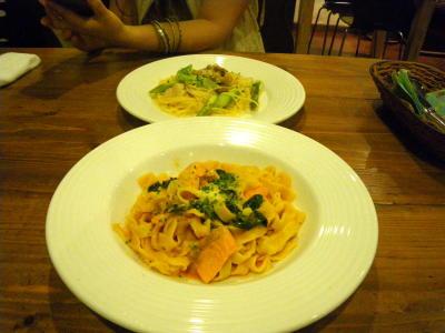 地元のイタリアンレストランで夕食