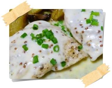 鶏胸肉ソテー☆粒マスタードソースアップ