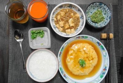 陳・麻婆豆腐と芙蓉蟹の夕食
