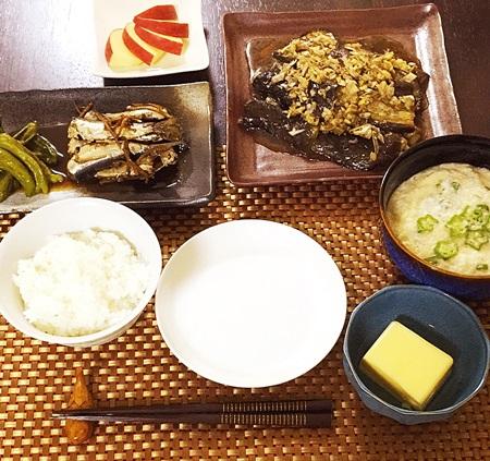 常備菜おうちごはん いわしの生姜煮、しし唐炒め、なす、オクラとろろ、玉子どうふ