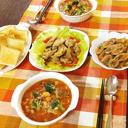 常備菜おうちごはん ミネストローネ、鶏柚子こしょう焼、肉巻き
