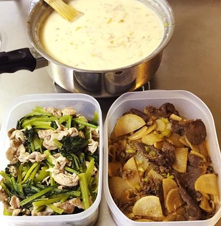 常備菜 クラムチャウダー、小松菜と豚肉、大根と牛肉