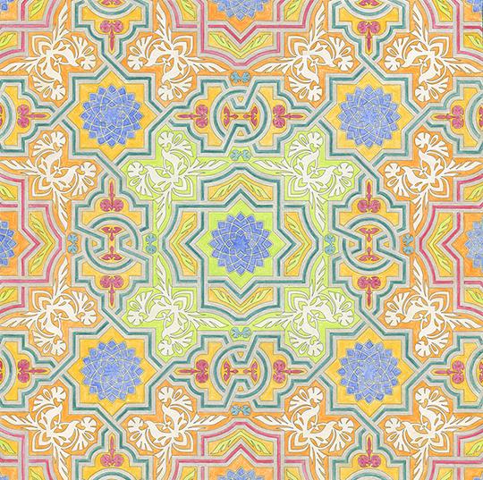 ぬり絵 イスラム文様とモザイク