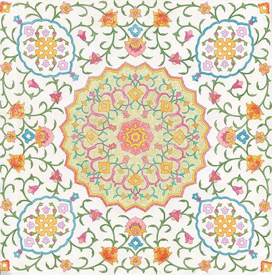 ぬり絵13 イスラム文様とモザイク:作品09
