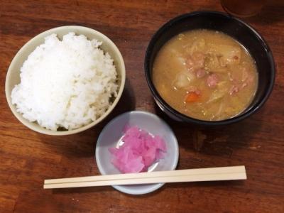 150801十八番天五店朝食サービスとん汁ミニ300円