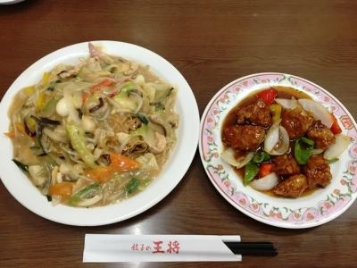 150418餃子の王将 巽店皿うどん626円と酢豚540円
