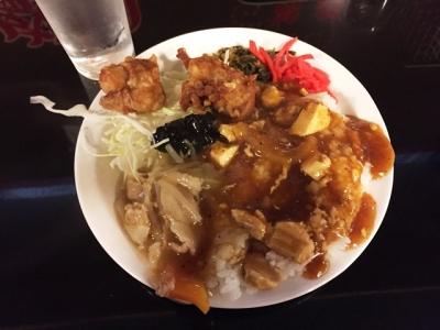 150821鴻盛園らーめん定食650円選べる丼で麻婆丼と中華丼あいがけ