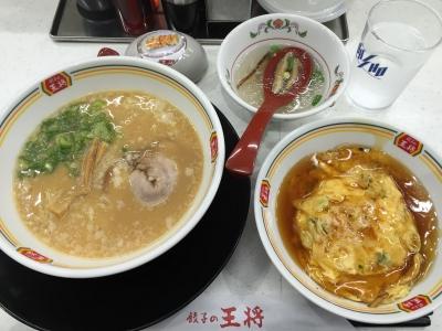 150905餃子の王将栄店ジャストサイズ天津飯288円とジャストサイズ王将ラーメン378円