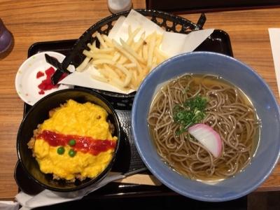 150907阪急そば若菜十三店オムライス丼セット620円ポテト+110円トッピング