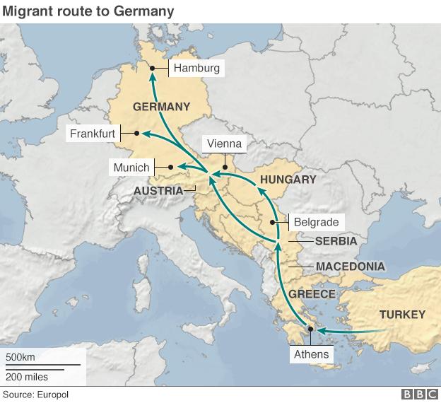 難民の進んだルート