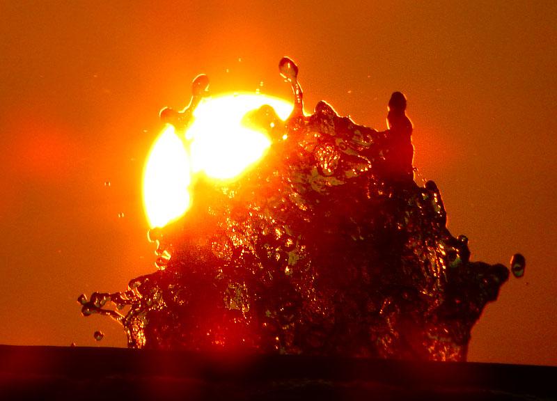 150802噴水と夕日@ソレイユの丘2