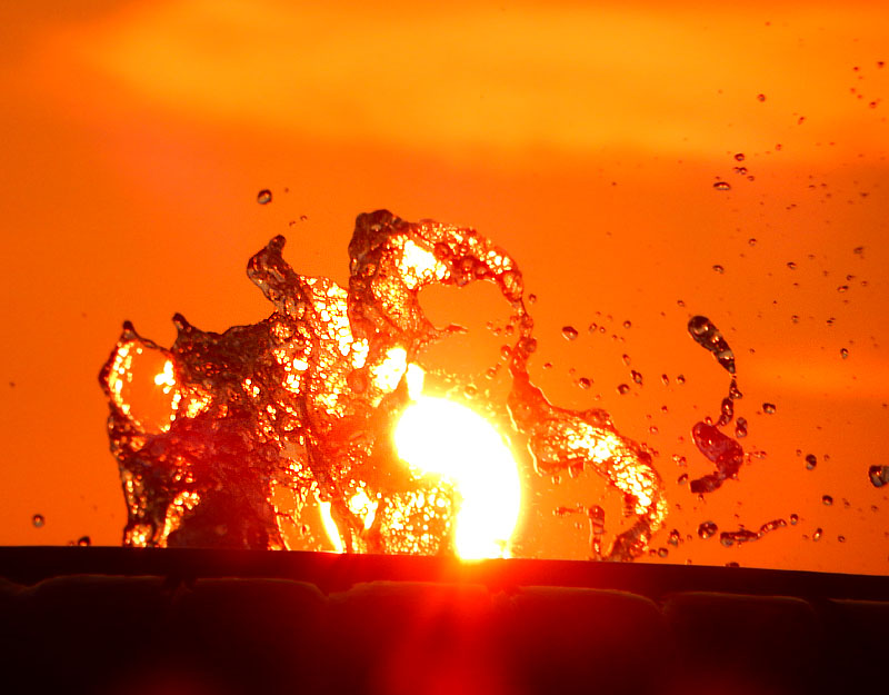 150802噴水と夕日@ソレイユの丘3