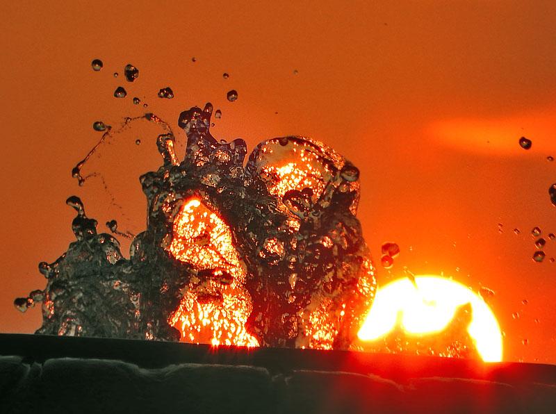 150802噴水と夕日@ソレイユの丘4