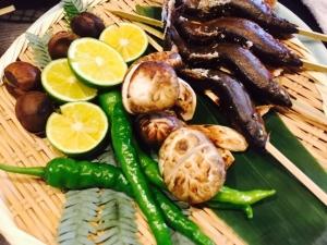 松茸と鮎と野菜