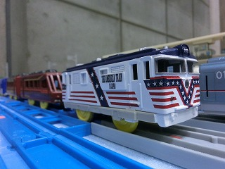 JAMの会場で展示してEF60「アメリカントレイン」塗装車両