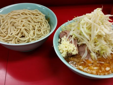 150823_中山駅前_小ラーメン_つけ麺_ヤサイニンニク