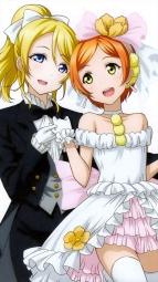 re 328101 ayase_eli crossdress dress hoshizora_rin love_live! screening tagme thighhighs wedding_dressi_