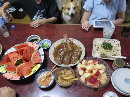 アワビとハマグリのバターライス、ホウボウの煮付け、桃、スイカ